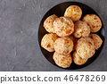 overhead view of Gougeres, cheese puffs balls 46478269