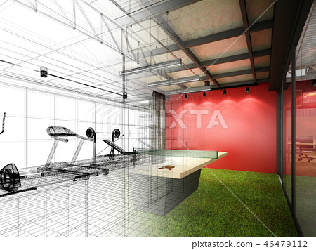 abstract sketch design of interior fitness room  46479112