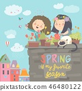 Cute girls standing on a balcony holding watering can in her hand and watering flowers in a pot 46480122