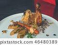 Grilled chicken leg with vegetable salad 46480389