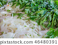 Pile of fresh parsley and sliced onion 46480391