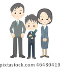 男孩小学生的毕业典礼[父母子女] 46480419
