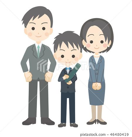Graduation ceremony [parent and child] of boy primary schoolchild 46480419
