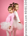 two cute little girls in tulle skirts on a pink background 46481304