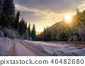 road in snow through winter forest at sunset 46482680