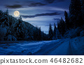 road in snow through winter forest at night 46482682