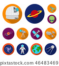 Space technology flat icons in set collection for design.Spacecraft and equipment vector symbol 46483469