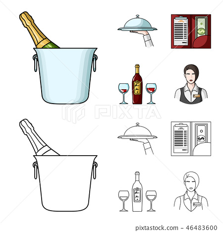 A tray with a cloth, check and cash, a bottle of wine and glasses, a waitress with a badge 46483600