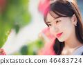 여자 여성 대학생 소녀 귀여움 도시 낭만 여유  46483724