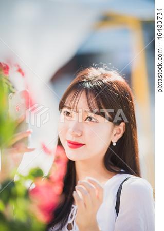 여자 여성 대학생 소녀 귀여움 도시 낭만 여유  46483734