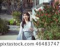 여자 여성 대학생 소녀 귀여움 도시 낭만 여유  46483747