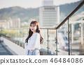 여자 여성 대학생 소녀 귀여움 도시 낭만 여유  46484086