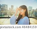 여자 여성 대학생 소녀 귀여움 도시 낭만 여유  46484159