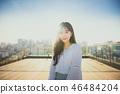 여자 여성 대학생 소녀 귀여움 도시 낭만 여유 나들이 소풍 46484204
