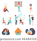 People suffering from mental disorders set, psychotherapists treating patients, mental health 46484356