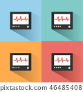 Heart rate monitor color icon with shadow  46485408