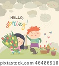 Cute cartoon boy and girl with spring flowers 46486918