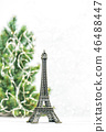 Eiffel Tower Christmas tree decoration white backg 46488447