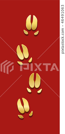 Pig Tracks Golden Red Background Year Of The Pig 46491063