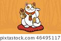Illustration of maneki neko talisman cat  46495117