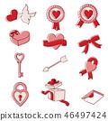 부드러운 선화 발렌타인 아이템 컬러 46497424