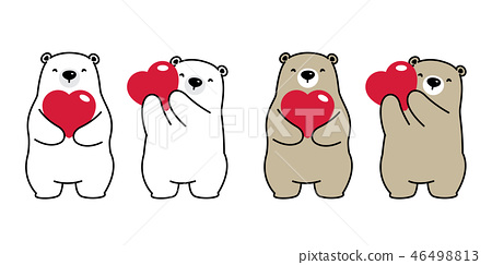 Bear vector polar bear heart valentine hug love 46498813