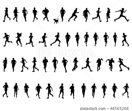Black silhouettes of running on a white background 46503208