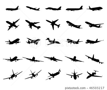 Black silhouettes of planes on a white background 46503217
