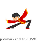 Boy in red traditional Chinese costume showing martial arts or dance vector Illustration on a white 46503591