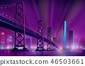 Modern metropolis night landscape cartoon vector 46503661