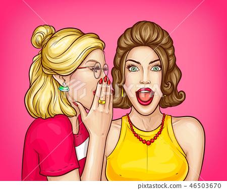 Woman telling big secret to friend vector 46503670