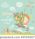 Girl sitting on swing with spring flowers 46504007