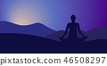 yoga mountain silhouette 46508297