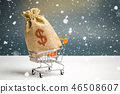 A bag of money in a supermarket trolley. Christmas 46508607