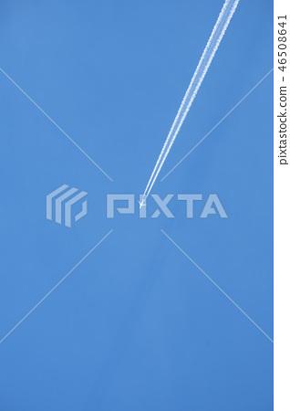 飛機在萬里無雲的天空飛翔 46508641