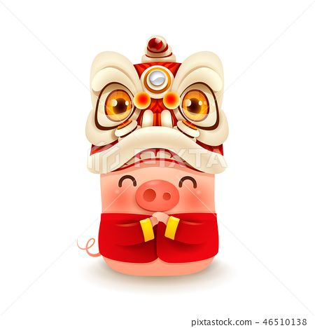 Little Pig with Chinese New Year Lion Dance Head 46510138