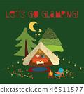 Vector illustration Lets go glamping - summer camping scene. Boho teepee tent. Camp night scene 46511577