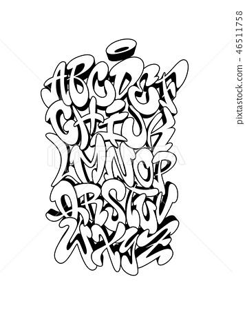 Handwritten graffiti font alphabet  Vector    - Stock