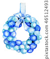 Watercolor sketch of Christmas wreath with balls  46512493
