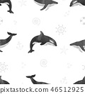 Watercolor whales seamless pattern. 46512925