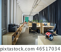 Office in a loft style with white walls and columns. 46517034