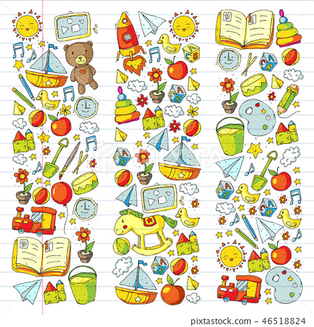 Kindergarten Vector pattern with toys and items for education. 46518824
