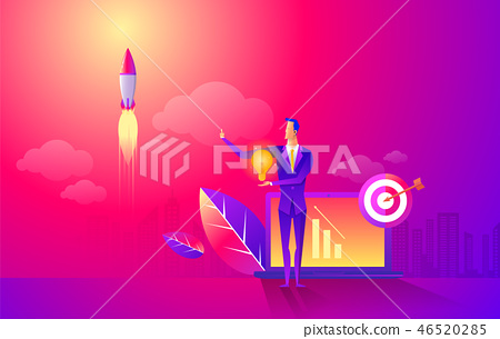 Start rocket ship in a flat style. Business startup work moments flat banner. New ideas, search for 46520285