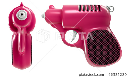 a set of mini retro pink water gun, front and side 46525220