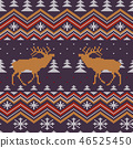 Christmas knitted seamless pattern with red deer 46525450