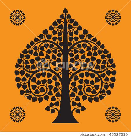 Thai Art Bodhi Tree on Orange Background 46527030