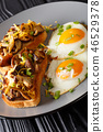 breakfast of shiitake toasts and fried eggs 46529378