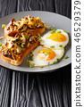breakfast of toast with shiitake mushrooms 46529379