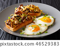 Bruschetta with shiitake mushrooms and cheddar 46529383