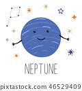 Neptune planet. Planet with hands and eyes. Vector illustration for children on white isolated 46529409